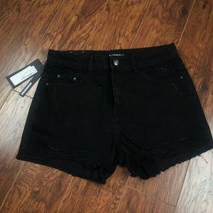 NastyGal Black Denim Shorts